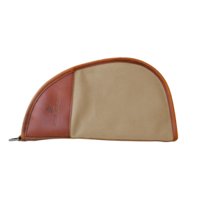 Large Revolver Case - Tan Coated Canvas Front Angle in Color 'Tan Coated Canvas'