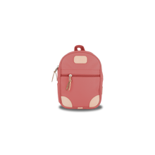 Load image into Gallery viewer, Mini Backpack - Coral Coated Canvas Front Angle in Color 'Coral Coated Canvas'
