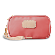 Load image into Gallery viewer, Wristlet - Coral Coated Canvas Front Angle in Color 'Coral Coated Canvas'