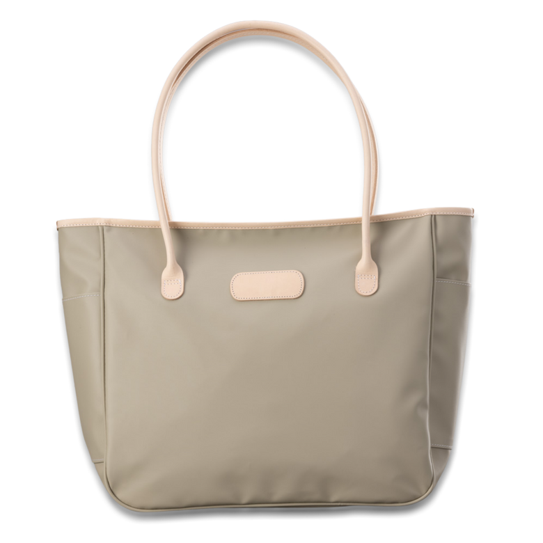 Quality made in America durable coated canvas large shoulder tote bag with natural leather patch to personalize with initials or monogram