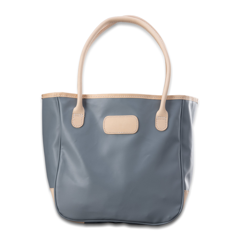 Quality made in America lined durable coated canvas shoulder tote bag with natural leather patch to personalize with initials or monogram