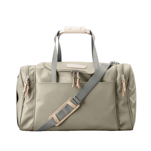 Medium Square Duffel - Tan Coated Canvas Front Angle in Color 'Tan Coated Canvas'