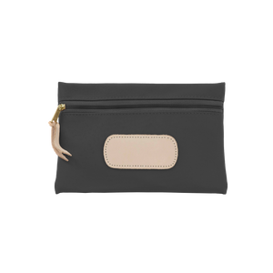 Pouch - Charcoal Coated Canvas Front Angle in Color 'Charcoal Coated Canvas'