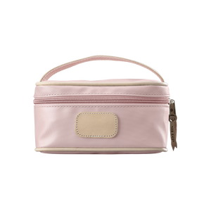 Mini Makeup Case - Rose Coated Canvas Front Angle in Color 'Rose Coated Canvas'
