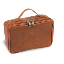 Load image into Gallery viewer, Leather Dopp Kit - Cognac Leather Front Angle in Color 'Cognac Leather'