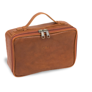 Leather Dopp Kit - Cognac Leather Front Angle in Color 'Cognac Leather'