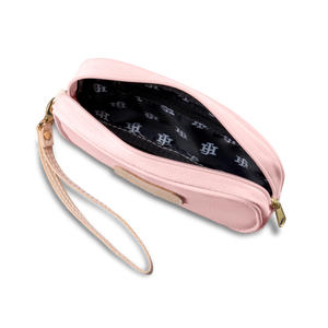 Wristlet - Rose Coated Canvas Front Angle in Color 'Rose Coated Canvas'