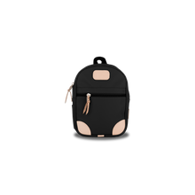 Load image into Gallery viewer, Mini Backpack - Black Coated Canvas Front Angle in Color 'Black Coated Canvas'