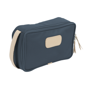 Small Travel Kit - French Blue Coated Canvas Front Angle in Color 'French Blue Coated Canvas'