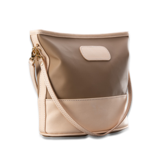Load image into Gallery viewer, quality made in america natural leather and coated canvas crossbody handbag that comes with two straps and patch to personalize