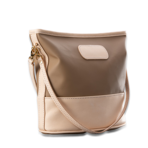 quality made in america natural leather and coated canvas crossbody handbag that comes with two straps and patch to personalize