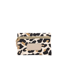 Load image into Gallery viewer, Pouch - Leopard Coated Canvas Front Angle in Color 'Leopard Coated Canvas'