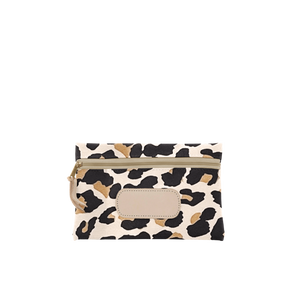 Pouch - Leopard Coated Canvas Front Angle in Color 'Leopard Coated Canvas'