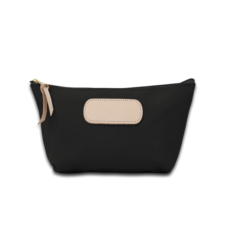 Quality made in America durable coated canvas pouch toiletry bag with leather patch to personalize with initials or monogram