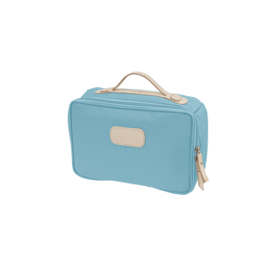 Large Travel Kit - Ocean Blue Coated Canvas Front Angle in Color 'Ocean Blue Coated Canvas'