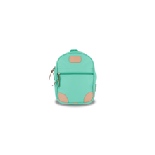 Load image into Gallery viewer, Mini Backpack - Mint Coated Canvas Front Angle in Color 'Mint Coated Canvas'