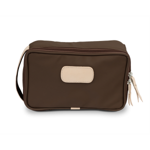 Small Travel Kit - Espresso Coated Canvas Front Angle in Color 'Espresso Coated Canvas'