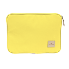 "Load image into Gallery viewer, 13"" Computer Case - Lemon Coated Canvas Front Angle in Color 'Lemon Coated Canvas'"