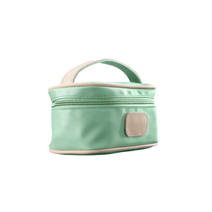 Mini Makeup Case - Mint Coated Canvas Front Angle in Color 'Mint Coated Canvas'