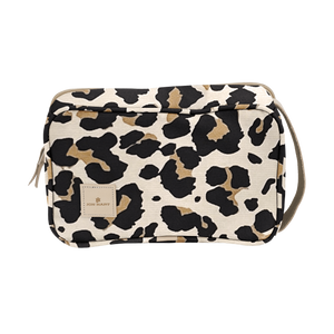 Small Travel Kit - Leopard Coated Canvas Front Angle in Color 'Leopard Coated Canvas'