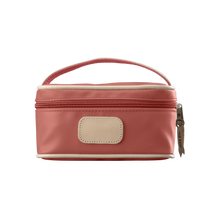 Load image into Gallery viewer, Mini Makeup Case - Coral Coated Canvas Front Angle in Color 'Coral Coated Canvas'