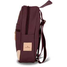 Load image into Gallery viewer, Mini Backpack - Burgundy Coated Canvas Front Angle in Color 'Burgundy Coated Canvas'