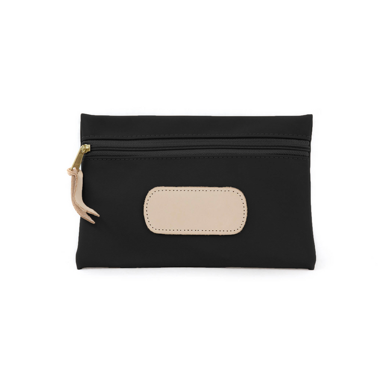 Pouch - Black Coated Canvas Front Angle in Color 'Black Coated Canvas'