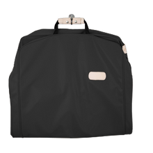 "Load image into Gallery viewer, 50"" Garment Bag - Black Coated Canvas Front Angle in Color 'Black Coated Canvas'"