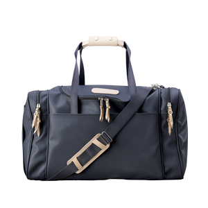 Medium Square Duffel - Charcoal Coated Canvas Front Angle in Color 'Charcoal Coated Canvas'