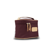 Load image into Gallery viewer, Makeup Case - Burgundy Coated Canvas Front Angle in Color 'Burgundy Coated Canvas'