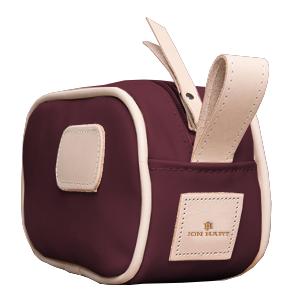 Junior Shave Kit - Burgundy Coated Canvas Front Angle in Color 'Burgundy Coated Canvas'