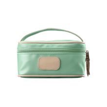 Load image into Gallery viewer, Mini Makeup Case - Mint Coated Canvas Front Angle in Color 'Mint Coated Canvas'