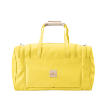 Load image into Gallery viewer, Medium Square Duffel - Lemon Coated Canvas Front Angle in Color 'Lemon Coated Canvas'