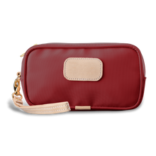 Load image into Gallery viewer, Wristlet - Red Coated Canvas Front Angle in Color 'Red Coated Canvas'