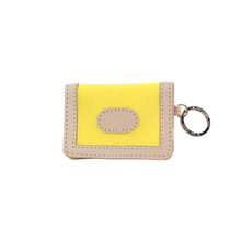 Load image into Gallery viewer, ID Wallet - Lemon Coated Canvas Front Angle in Color 'Lemon Coated Canvas'