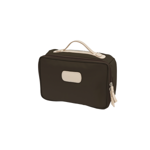 Large Travel Kit - Espresso Coated Canvas Front Angle in Color 'Espresso Coated Canvas'