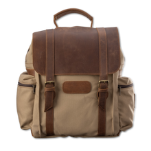 Load image into Gallery viewer, Quality made in America cotton canvas and oiled leather computer backpack to personalize with initials or monogram