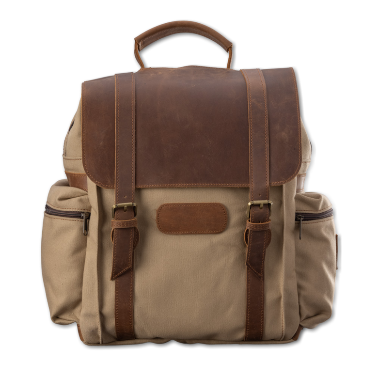 Quality made in America cotton canvas and oiled leather computer backpack to personalize with initials or monogram