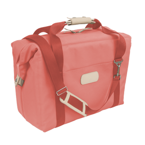 Large Cooler - Coral Coated Canvas Front Angle in Color 'Coral Coated Canvas'