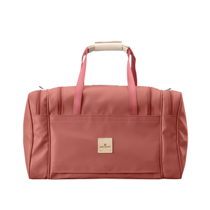 Medium Square Duffel - Coral Coated Canvas Front Angle in Color 'Coral Coated Canvas'