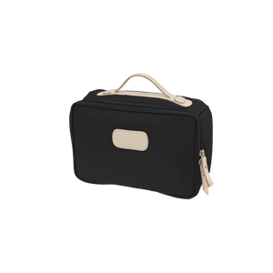 Large Travel Kit - Black Coated Canvas Front Angle in Color 'Black Coated Canvas'