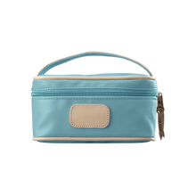 Load image into Gallery viewer, Mini Makeup Case - Ocean Blue Coated Canvas Front Angle in Color 'Ocean Blue Coated Canvas'