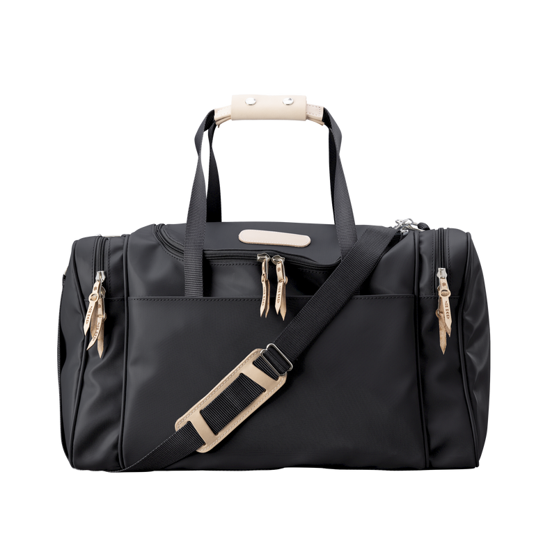Medium Square Duffel - Black Coated Canvas Front Angle in Color 'Black Coated Canvas'