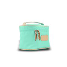 Load image into Gallery viewer, Makeup Case - Mint Coated Canvas Front Angle in Color 'Mint Coated Canvas'