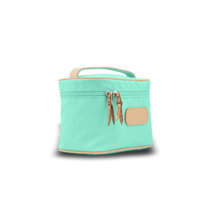 Makeup Case - Mint Coated Canvas Front Angle in Color 'Mint Coated Canvas'