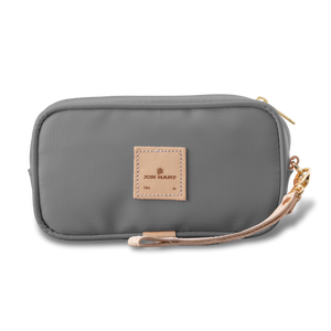 Wristlet - Slate Coated Canvas Front Angle in Color 'Slate Coated Canvas'