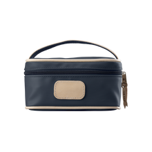 Load image into Gallery viewer, Mini Makeup Case - Navy Coated Canvas Front Angle in Color 'Navy Coated Canvas'