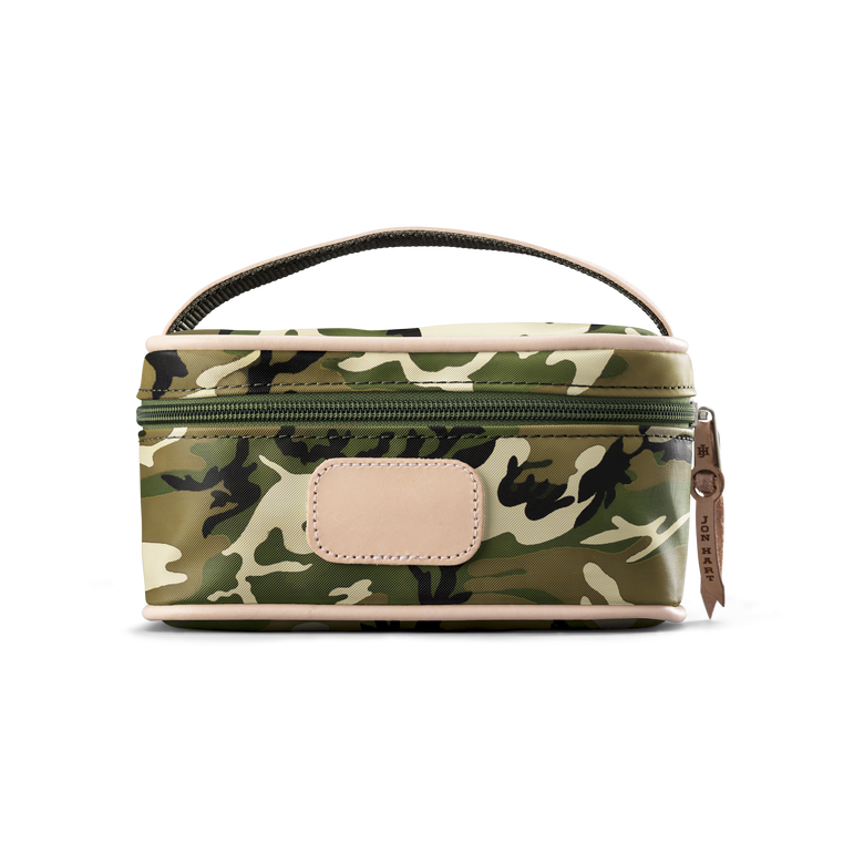 Mini Makeup Case - Classic Camo Coated Canvas Front Angle in Color 'Classic Camo Coated Canvas'