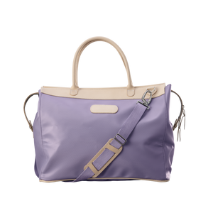 Burleson Bag - Lilac Coated Canvas Front Angle in Color 'Lilac Coated Canvas'