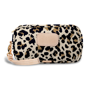 Wristlet - Leopard Coated Canvas Front Angle in Color 'Leopard Coated Canvas'
